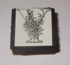 "Y Rubber Stamp Foam Mounted Letter Initial Flowers NOS 1"" High New"
