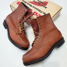 1980s Red Wing Leather Boots 2229 Moc Toe Vintage Deadstock Usa Made New Os 90s