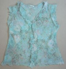 MARKS & SPENCER PRETTY LIGHT BLUE PATTERNED RUFFLE BLOUSE / TOP  Size 12