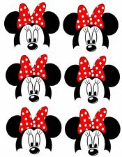 *****6 DISNEY MINNIE MOUSE HEAD *******  ***FABRIC/T-SHIRT IRON ON TRANSFERS