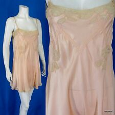 "Vintage 1920s Lingerie Silk Teddy Lace Appliques & Pintucks 34"" Bust S"