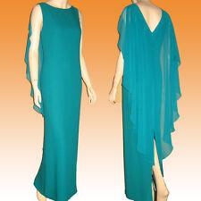New CATTIVA NEW YORK Greek Goddess Gown Chiffon & Crepe DEEP TURQUOISE Magic 10