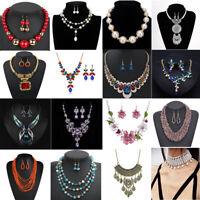 Fashion Women Pearl Bib Choker Chunky Crystal Pendant Necklace Statement Jewelry