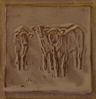 "three calves tile, farmhouse, handmade, 4"" (10cm) animal tile Helen Baron Studio"
