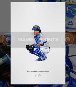 Salvador Perez Kansas City Royals Baseball Illustrated Print Poster Art