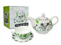Tea For One Set Teapot Saucer Cup Tea & Coffee, Elephant Aztec White Porcelain