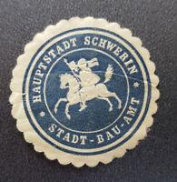 Siegelmarke Vignette HAUPTSTADT SCHWERIN STADT-BAU-AMT (8114-2)