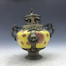Collect Chinese ceramic incense burner handmade painting flowers.    a501