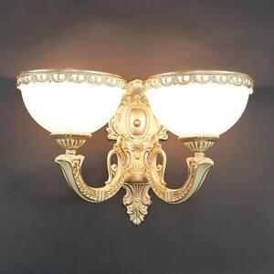 Wandleuchte im Jugendstil Weiß antik Glas Schirm 2x E27 Wand Leuchter Lampe