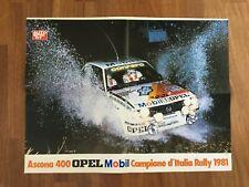 MANIFESTO,POSTER,AFFICHE ASCONA OPEL 400 MOBIL RALLY CAMPIONE D'ITALIA 1981 AUTO