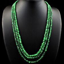 Rare 609.00 Cts Earth Mined 7 Line Green Emerald Round Shape Beads Necklace