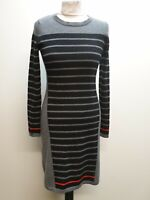 B612 WOMENS CLEMENTS RIBEIRO BLACK GREY STRIPED WOOL JUMPER DRESS UK 10 EU 36