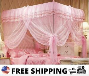 Pink Ruffled 4 Post Bed Canopy Netting Curtains Sheer Panel Corner Full Size New