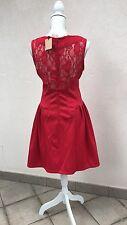MOLLY BRACKEN vestito abito rosso con pizzo sulla schiena lace dress T2 FR,42-44