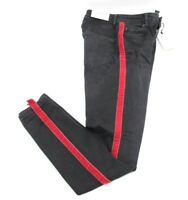 Zara Woman High Waist Black Pants Jeans Red Velvet Stripe Slim Skinny Size 2