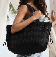 VICTORIA'S SECRET BLACK TOTE HANDBAG BEACH BAG PURSE LARGE CARRYON CANVAS BEAUTY