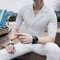 Summer Striped Suit Set For Men Skinny Fit Double Breasted Flat Casual Clothings