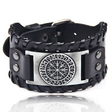 Men Charm Braided Wide Leather Bracelet Punk Viking Cuff Bangle Rope Wristband
