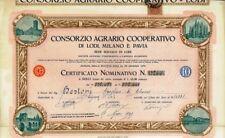 1925 CONSORZIO AGRARIO DI LODI MILANO E PAVIA * AZIONE D'EPOCA ORIGINALE