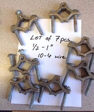 "Lot of 7 pieces 1/2-1"" Water Pipe Grounding Clamp 10-4 Wire Bronze/Copper/Alloy"