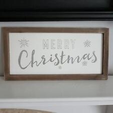 RUSTIC FRAMED MERRY CHRISTMAS WALL PLAQUE WITH GLITTERY WORDS AND SNOWFLAKES