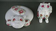Royal Dux Porcelain Cats 2 Cat Figurines P Rada Roses Vintage