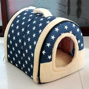 Dog Pet Bed House Plush Enclosed Soft Kennel