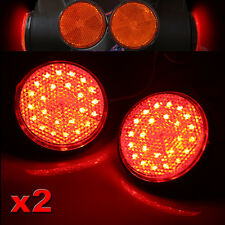 2X Red 24 LED Motorcycle Round Reflector Tail Brake Turn Signal Light Lamp New