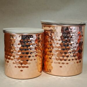NEW Set of 2 Uncommon James Hammered Copper Canisters Kitchen Bathroom Storage