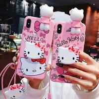 Set Hello kitty Doll Strap Holder Case for iPhone 11 XS Max Samsung Galaxy Cover