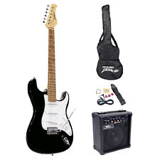 BEGINNER PYLE ELECTRIC GUITAR PACKAGE STARTER KIT SET with AMP AMPLIFIER BLACK