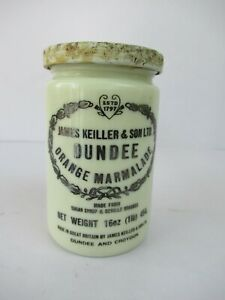 "Vintage Dundee Orange Marmalade Jar James Keiller & Sons Ltd Dundee Croydon ""F2"