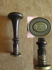 ancien sceau à cacheter cachet en bois et laiton XIX ème