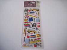 Scrapbooking Stickers Crafts Sticko Puffy School Bus Crayons Paper Scissors More