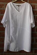 FLAX BOLD 2015 LINEN PLUS SIZE TREASURE TUNIC POCKET V SHIRT WHITE 2G 2X
