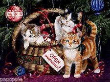 Vintage Cats Christmas Fabric Block