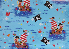 2 Sheets Gift Wrapping Paper PIRATE SHIP Jolly Roger Kids Boys Happy Birthday