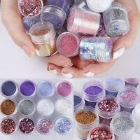 12Boxes/Set Nail Art Sequin Glitter Sheets Tips Mixed Powder Dust Nails DIY 10ml