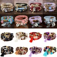 Boho Multi-layer Natural Stone Beaded Tassels Women Bracelets Wristband Bangle