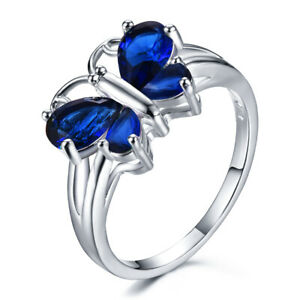 Exquisite Women's 925 Silver Butterfly Blue Sapphire Wedding Rings Jewelry Gifts