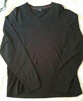 Alfani V-Neck Pullover Sweater Size Men's Large Cotton Blend Long Sleeves