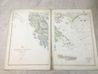 Antique Map Turkey in Europe Ionian Islands Old Hand Coloured 19th Century Large