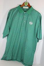 Fairway & Greene Polo Shirt Green White Stripe Golf Shirt Men's Large