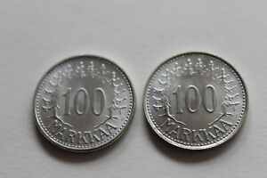 Finland 2x 100 markkaa 1959, 1960 UNC silver nr.824 @ low start