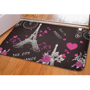 Lover Paris Non-slip Flannel Doormat Floor Area Rug Soft Bedroom Carpet Mat Home
