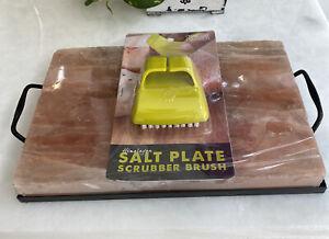New Himalayan Pink Salt Block Metal Tray Set 12 x 8 x 1.5 With Scrubbing Brush