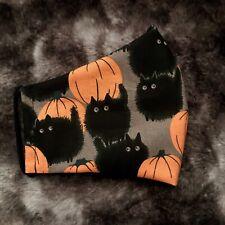 Halloween Pumpkin Cat Print Face Mask With Filter Pocket Goth Grunge Egirl