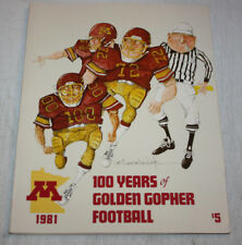 1981 Minnesota Gophers Football 100 Year Anniversary Book