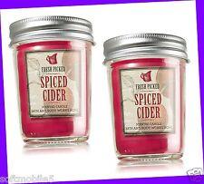 2 Bath & Body Works FRESH PICKED SPICED CIDER Mason Jar Candle 6 oz ea