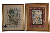 2 Vintage Hand Painted Scenes on Silk Artwork Tapestry